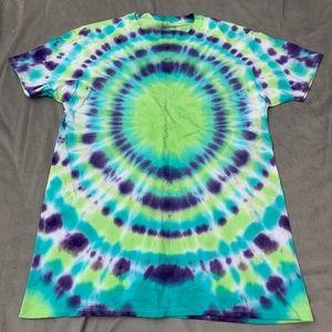 Fruit of the Loom Purple Green Tie Dye T NWOT L